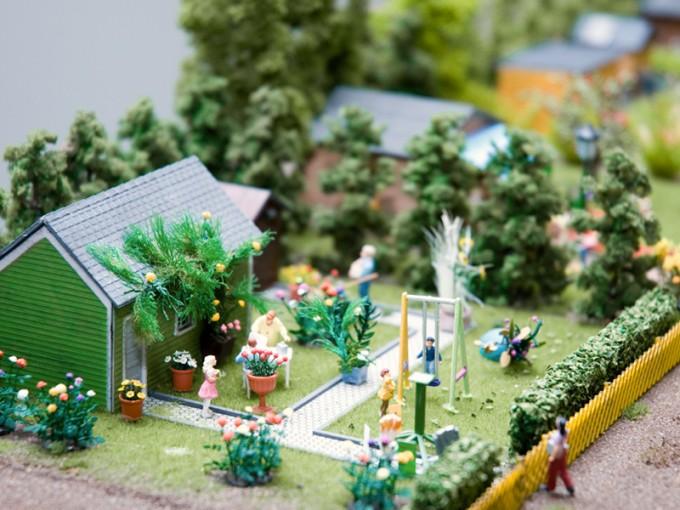 Miniaturmodell einer Kleingartenanlage