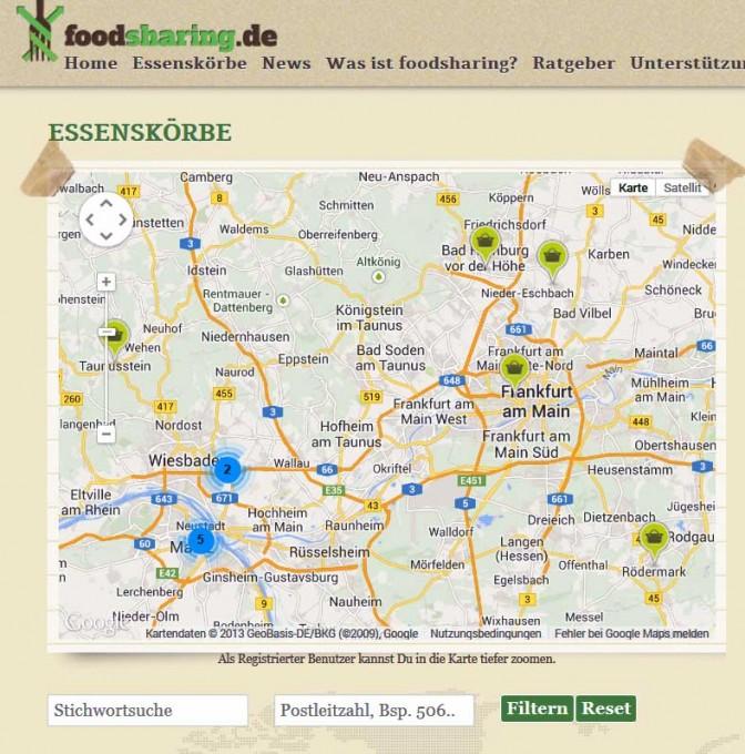 Foodsharing Karte Essenskörbe