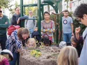 Auflösung des Kartoffelturms im Gallus Garten
