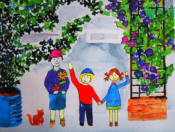 Kinder haben einen Garten im Hof gestaltet