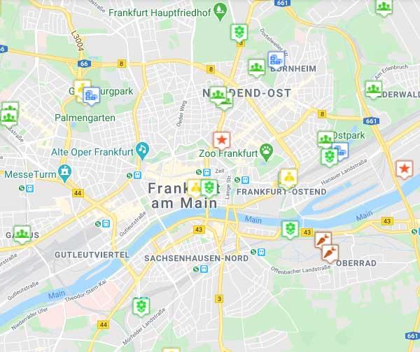Die interaktive Frankfurter Beete-Stadtkarte zeigt die Standorte von Gemeinschaftsgärten, Bienenprojekten, artenreichem Stadtgrün, Selbstversorgung sowie grünen und nachhaltigen Serviceangeboten in Frankfurt.