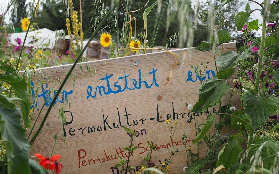 Holzschild: HIer entsteht ein Permakultur-Lehrgarten